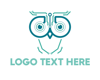 Artificial Intelligence - Circuits & Owl logo design