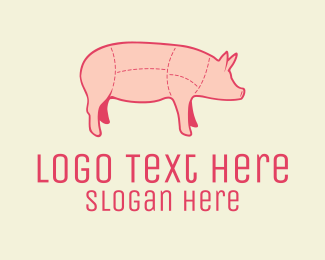 Pork - Quality Pink Pig Butcher logo design