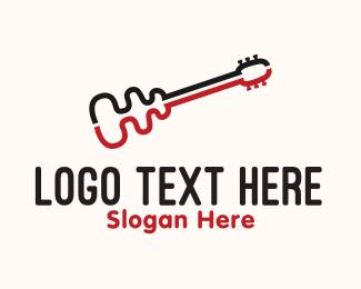 Musical Instrument -  Curve Guitar logo design