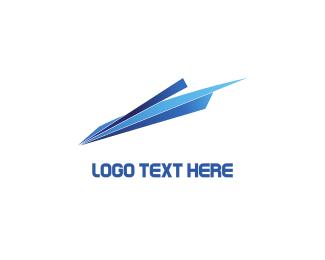 Flight - Blue Paper Plane logo design