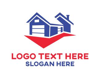Developer - Blue & Red House logo design