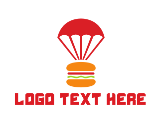 Food Delivery - Burger Parachute logo design