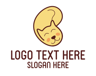 Sleeping - Yellow Cat Cartoon logo design