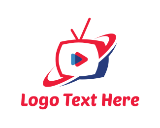 Planet - Red & Blue Play TV logo design