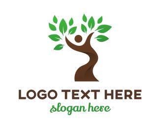 Dancing - Dancing Tree Person logo design