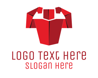 Body Building - Origami Muscles logo design