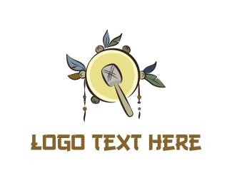 Drum - Native Yellow Tambourine logo design