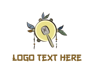 Drum - Native Yellow Tambourine logo design
