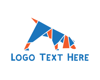 Dog Trainer - Origami Dog logo design