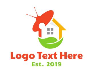 Cable Service - UFO Leaf House logo design