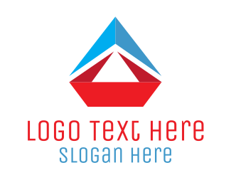 Yacht - Origami Sailboat logo design