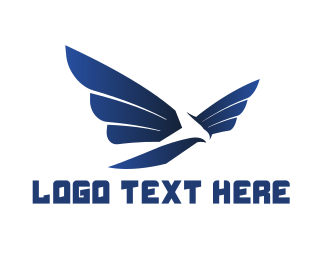 Freedom - Modern Blue Hawk logo design