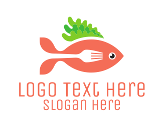 Salmon - Fish & Fork logo design