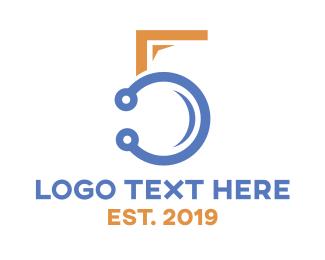 Connectivity - Modern Tech Number 5  logo design