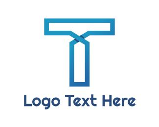 Connectivity - Blue Line T logo design