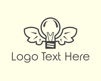 Lamp - Winged Lamp logo design