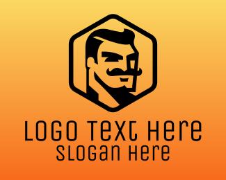 Masculine - Mustache Man logo design