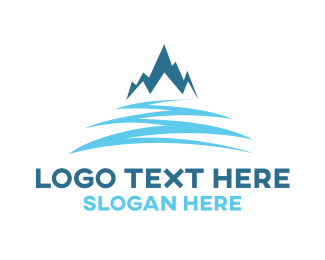 Ski - Snow Blue Mountain logo design