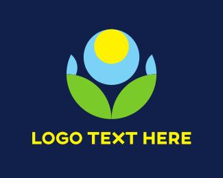 Grass - Circles & Blue Flower logo design