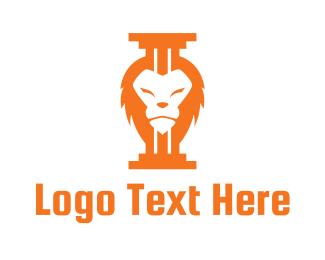 Pillar - Lion Pillar logo design