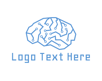 Brain - Circuit Brain logo design
