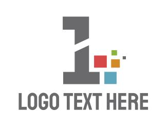 Number 1 - Pixel Number 1 logo design