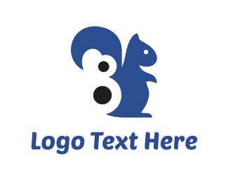 Chipmunk - Blue Squirrel logo design