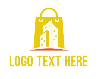 Purse - Shopping Bag Building  logo design
