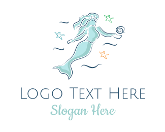 Girl - Blue Mermaid logo design
