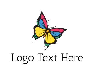 Pop - Colorful Butterfly logo design