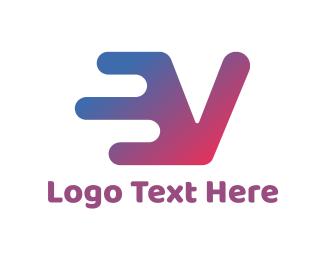 Artistic - Electric Blue V logo design