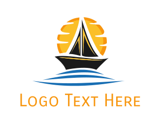 Canoe - Boat & Sunrise logo design