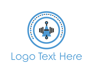 Strong - Dumbbell Circle logo design