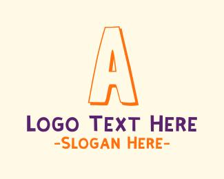 Handwritten - Kindergarten Letter A logo design