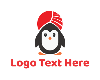 Indian - Turban Penguin logo design
