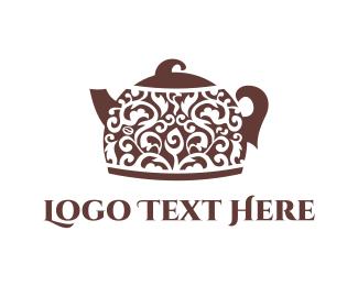 Pot - Floral Teapot logo design