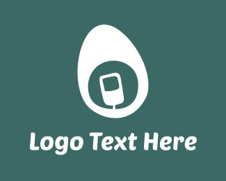 Cell Phone - White Mobile Egg logo design