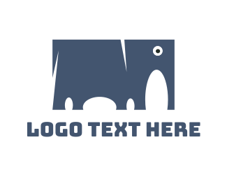 Mammoth - Square Blue Elephant logo design