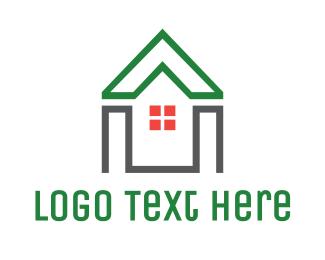 Rent - Green House Shape logo design