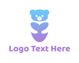 Bear - Cute Neon Bear logo design