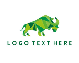 Rhinoceros - Green Geometric Rhino logo design