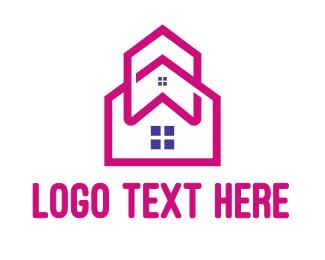 Townhouse - Pink House Outline logo design