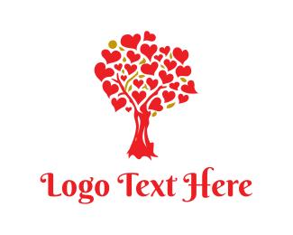 Christmas - Red Heart Tree logo design