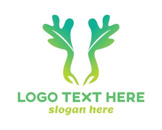 Moose - Green Moose Leaf logo design
