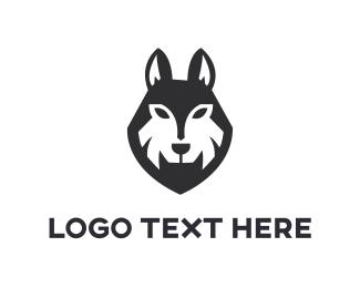 Canine - Black Wolf logo design