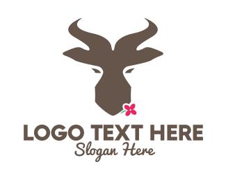 Mammal - Brown Springbok Flower logo design