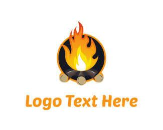 Bonfire - Orange Campfire  logo design