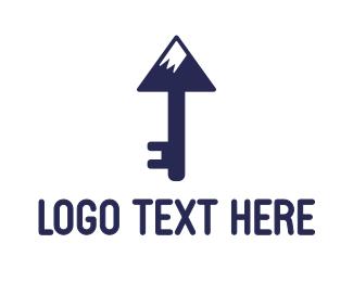 Everest - Blue Mountain Key logo design