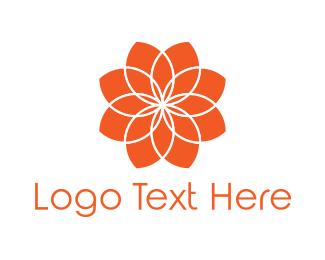 Mandala - Orange Flower logo design