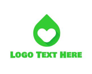 Oil - Green Love Drop logo design